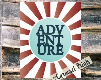 Adventure Sunburst Printable Wall Art