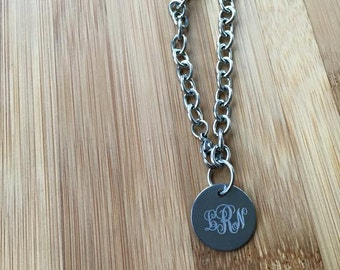 Engraved Curly Monogram Stainless Steel Disc Pendant Bracelet Anklet