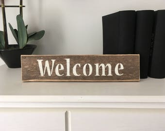 Reclaimed wood Welcome sign, recycled wood welcome sign, weathered welcome sign, hand painted welcome sign on reclaimed wood