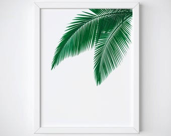 Palm Leaf Art Print, Tropical Leaf Art Print, Tropical Wall Art, Palm Leaf Printable, Green Leaf Art Print, Palm Leafs Art Print
