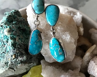 Vintage Native American Indian style turquoise earrings, Southwest earrings, turquoise and sterling silver earrings, tribal boho earrings