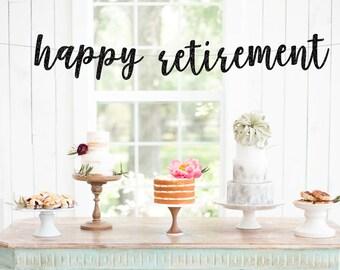 Happy Retirement Banner   gold glitter banner   retirement party   retirement   celerations   funny banner   custom banner