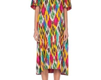 Silk-ikat Short Sleeve Tunic Dress Size: L