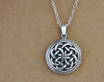 sterling silver eternal knot locket necklace.  vintage style. handmade silver locket. celtic symbol locket. sterling silver 925. antiqued.