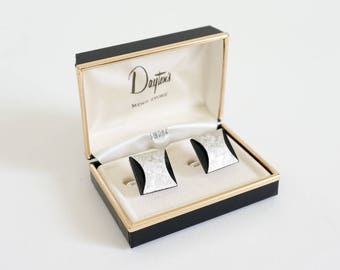 Vintage 1960s Mens Suit Accessory / Swank Metal Cuff Links in Box NOS / Silver Tone Brushed Metal Black Lucite Mid Century Sharp Dressed Man