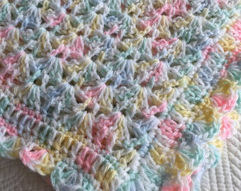 Soft and Cozy Baby Afghan in Pastels, Pink Crochet Baby Afghan, Crochet Baby Blanket, Baby Shower Gift, Pastel Pink Blanket, Pastel Yellow