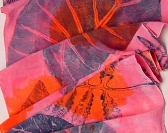 silk scarf large Bold Tropical unique hand painted orange pink philodendron fern wearable art women luxury crepe