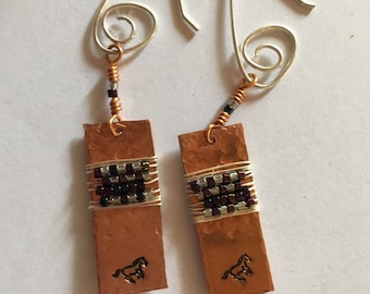Running Horse Earrings Southwestern Equestrian Jewelry Western Art Metalsmith Jewelry Rodeo Style Cowgirl Fashions Copper Horse