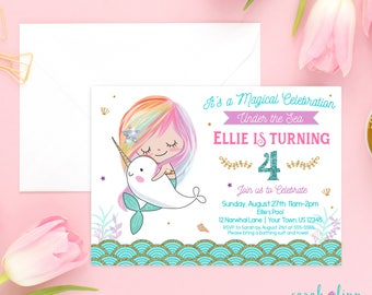 Narwhal Mermaid Invitation Mermaid Birthday Party Narwhal Invitation Under the Sea Party Rainbow Mermaid Pool Party Swimming Party Printable