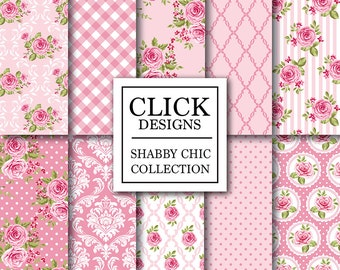 "Shabby Chic Digital Paper: ""SHABBY PINK ROSES"" Floral scrapbook background, romantic papers with roses, damask for wedding invites, carts"