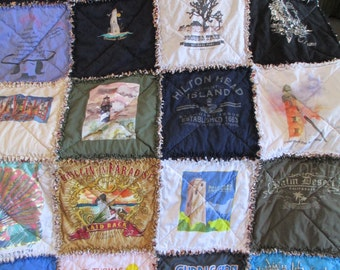 New lightweight style Handmade Rag T-Shirt Quilt,edges are frayed for style. CUSTOM ORDER  Price is Per Block