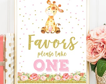 Giraffe Favors Sign, Giraffe Birthday Party Sing, Giraffe Baby Shower, Girls Birthday Pink and Gold Printable Sign, INSTANT DOWNLOAD