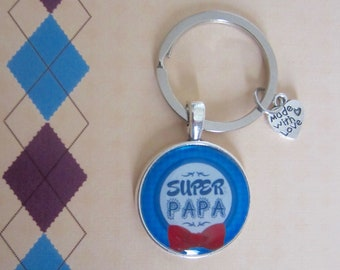 """Father's day - Gift for Dad: """"Super Dad"""" keychain"""