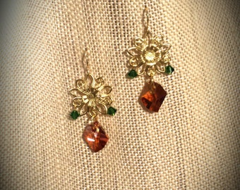 Amber Swarovski Crystal Drop Pendant and Stamped Brass Flowers on Gold Finished Steel French Wire Earrings
