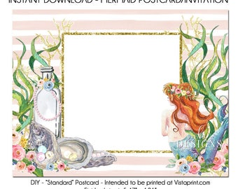 Mermaid Postcard, DIY Vistaprint Standard Size Postcard, Mermaid and Pearls, Template Instant Download, Invitation, Stationary, Party Invite