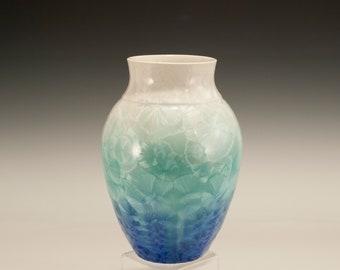 Crystalline Pottery, blue green crystalline glaze by Steve Wright Crystalline Pottery, tall open vase