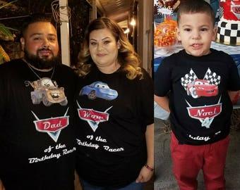 3 black Disney's cars birthday Tshirts