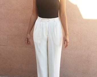 Vintage 90s Pleated High Waist Wide Leg Trousers - White/Cream