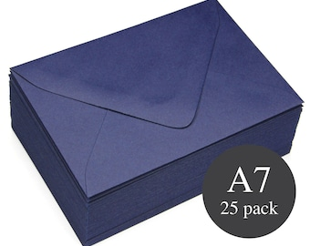 25 - A7 Navy Matte Euro Flap Envelopes - 5 1/4 x 7 1/4 - Midnight Blue