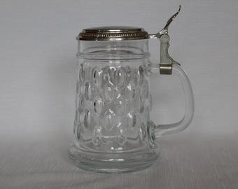 BMF W. Germany Glass Stein/Tankard with Metal Hinged Lid