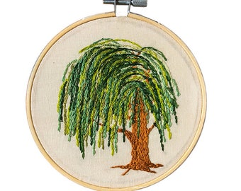Weeping Willow Embroidery Art