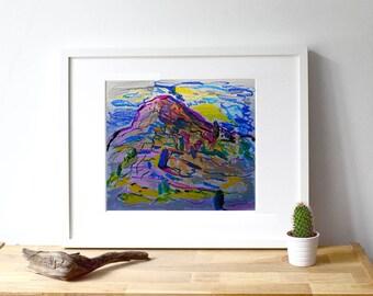 View from Las Nuevitas in La Gomera II · Original oil pastel drawing · 25 x 21 cm / 9,8 x 8,3 in