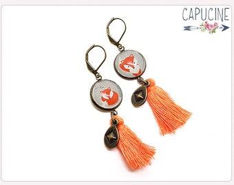 Fox earrings - Chandelier earrings - Tassel earrings - Glass dome fox earrings