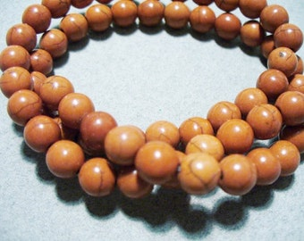 Magnesite Beads Gemstone Rust Round 6mm