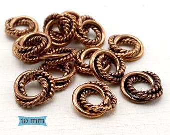 Solid Copper Twisted Wire Big Hole Spacers-10 Pcs. | 42-110C-10