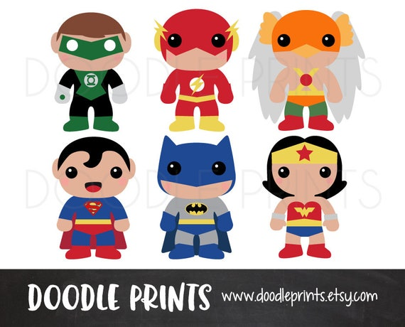 super hero clipart design heroes digital clip art printable rh etsy com Justice League Checks Justice League Symbols