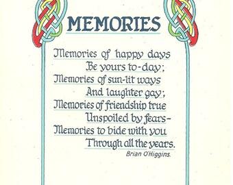 Vintage 1980s Postcard Memories of Ireland Friendship Poetry Celtic Illustrated Castle Card Photochrome Era Postally Unused