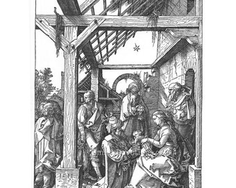 Jesus Joseph Mary Digital Download - Religious Art Nativity Scene - Woodcut Engraving Adoration of the Magi Albrecht Durer Instant Download