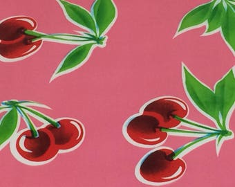 Mexican Oilcloth Fabric--Pink & Red Cherries--Tablecloth Fabric--Apron Fabric--Tote Bag Fabric--Waterproof Fabric--Oilcloth by the HALF YARD