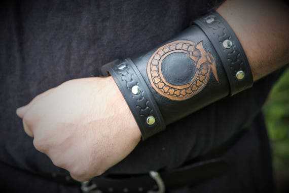 Viking Leather Bracers / Wrist Cuff Tooled Knotwork Ouroboros Design (Single)