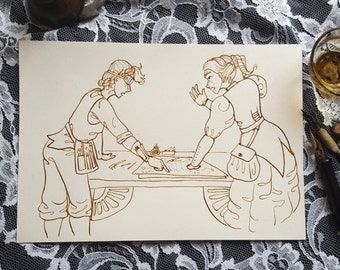 Steam Sisters - Original Sepia Steampunk Art