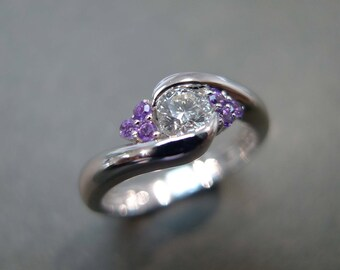 Diamonds Wedding Ring with Amethyst, Amethyst Ring, Amethyst Diamond Ring, Amethyst Diamond Engagement Ring, 0.25ct Diamond 14K White Gold