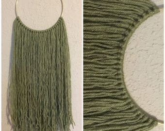 Olive green yarn tapestry | olive green wall decor| Olive