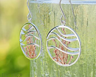 Posidonia Oceanica Sterling Silver Gold Plated Large Round Earrings | Botanic Garden Collection | Contemporary Unusual Jewellery