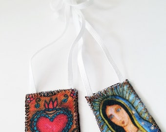 Our Lady of Guadalupe Scapular -   Handmade - Original Art by FLOR LARIOS