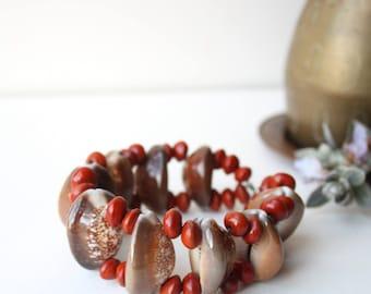 Vintage Boho Cowrie Shell & Seed Pod Bracelet Cuff