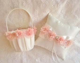 Blush Pink Flower Girl Basket and Pillow -  Ring Bearer Pillow, Flower Girl Basket Set Blush on Ivory Venice Lace