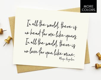 Maya Angelou Card with Lined Envelopes / love card - anniversary card - love you card - just because card - maya angelou quote -spouse card