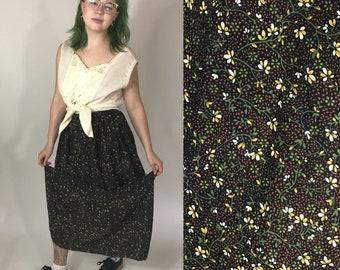 Vintage handmade brown floral maxi skirt ~ size M/L