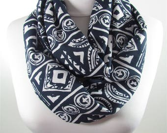 Tribal Scarf Infinity Scarf  Navy Blue Loop Scarf Fall Winter Fashion Scarf Accessories Gift For Women Mom 101 Gift For Women Gift For Her