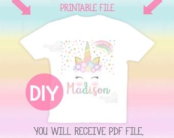 Unicorn Printable Iron On Transfer , Unicorn Tshirt, Unicorn Party, Unicorn Birthday