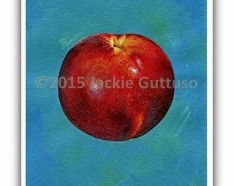 "Nectarine art, Kitchen wall  art, Giclee print 8 x 10"" Fruit print, Fruit decor, Dining room wall art, Acrylic fruit painting print, Collage"