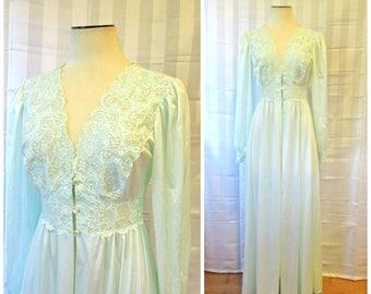 Vintage Robe by Shadowline 1970s Seafoam Aqua Light Green Feminine Peignor with Lace  34 M Medium 70s Does 1930s 1940s