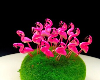 Set 10 Terrarium Mini Pink Flamingo Stake Miniature Dollhouse Fairy Garden Accessories