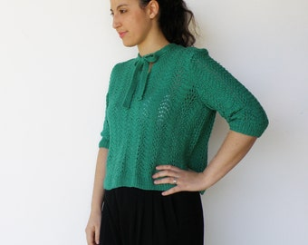 Vintage Sweater / Late 1960s Forest Nymph Hand Knit Sweater / Size M