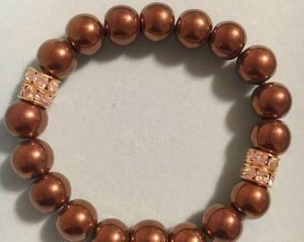 10mm metallic copper stretch bracelet